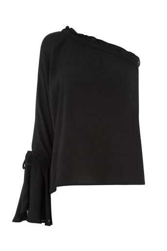 Warehouse, LONG SLEEVE ONE SHOULDER TOP Black 0