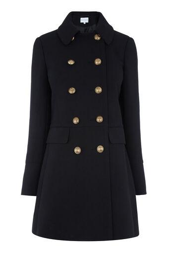 Warehouse, Femme Pea Coat Black 0