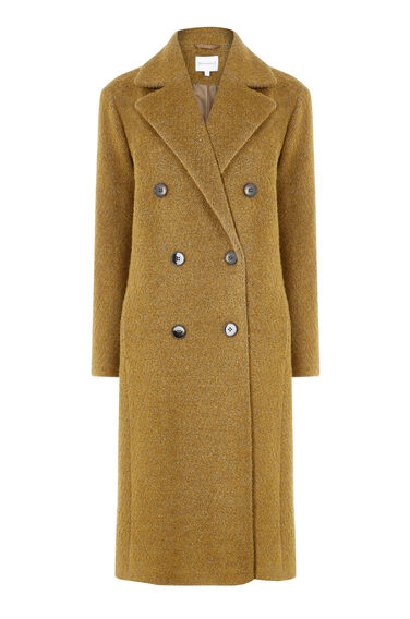 Warehouse, Oversized Boucle Coat Mustard 0