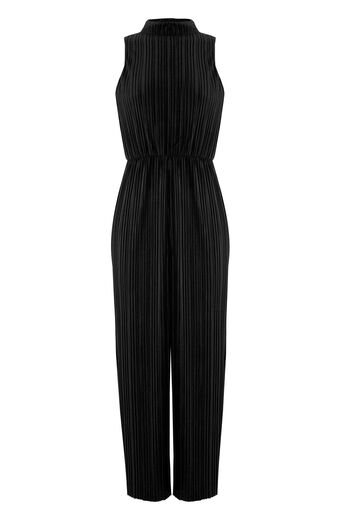 Warehouse, VELVET PLISSE JUMPSUIT Black 0