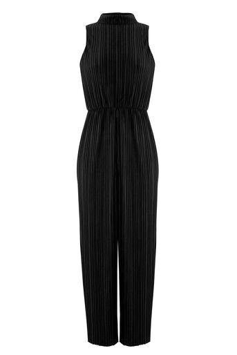 Warehouse, Fluwelen plissé jumpsuit Zwart 0