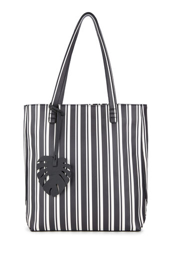 Warehouse, LEAF CHARM FOLDED SEAM SHOPPER Black Stripe 0