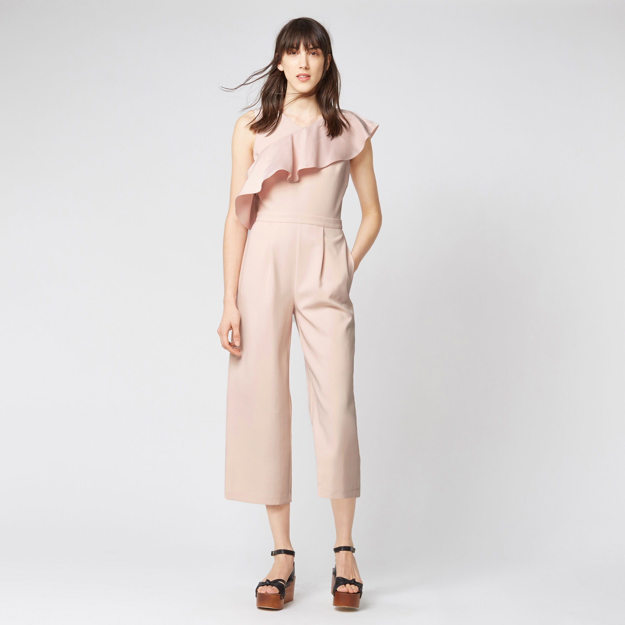 Warehouse, ASYMMETRIC RUFFLE JUMPSUIT Light Pink 1