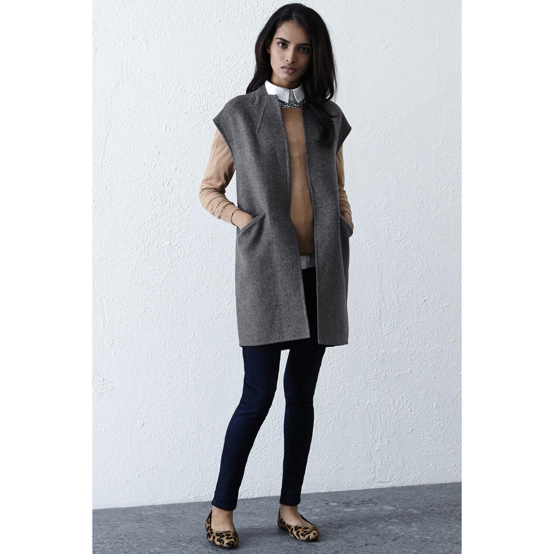 Warehouse, Sleeveless Wool Coat Light Grey 1