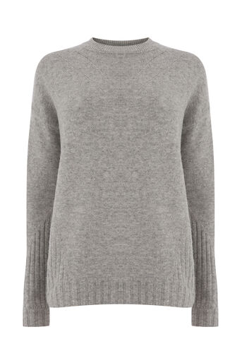 Warehouse, COSY POINTELLE DETAIL JUMPER Light Grey 0