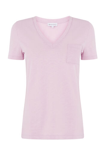 Warehouse, V NECK SLUB TEE Lilac 0