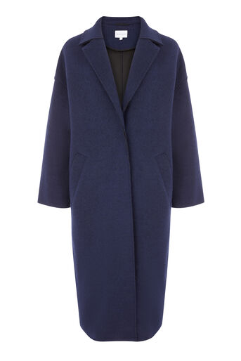 Warehouse, LONG BONDED SWING COAT Navy 0