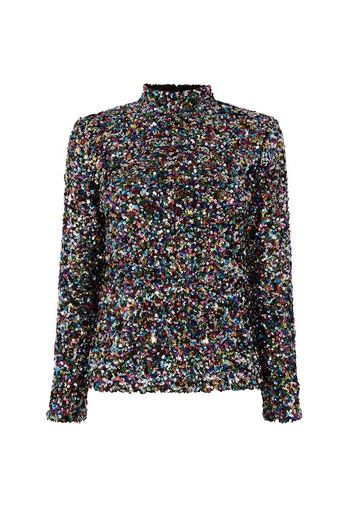 Warehouse, RAINBOW SEQUIN HIGH NECK TOP Multi 0