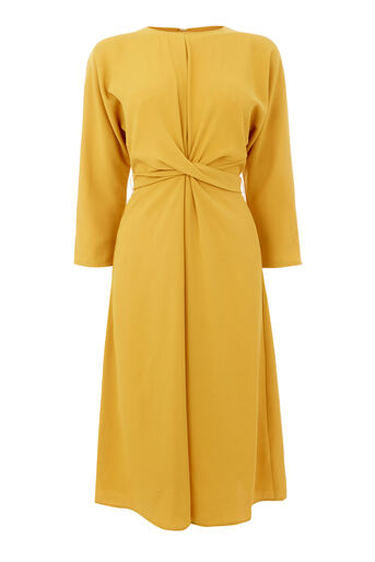 Warehouse, TWIST FRONT DRESS Yellow 0