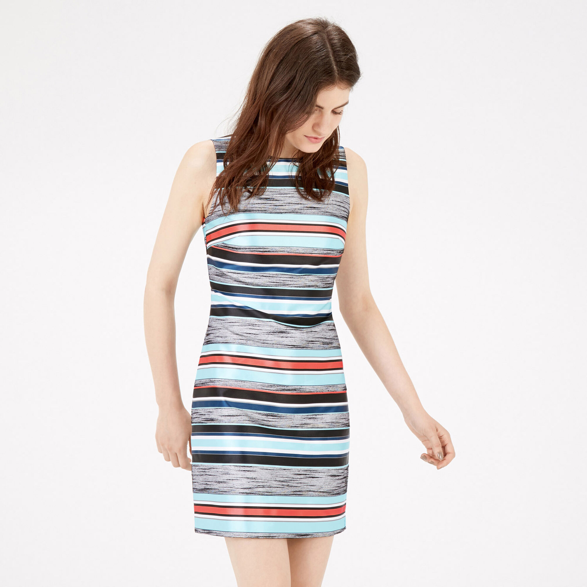 Warehouse, JACQUARD STRIPE SHIFT DRESS Multi 1