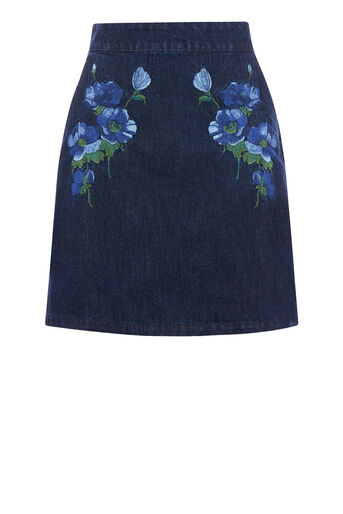 Warehouse, EMBROIDERED SKIRT Indigo Denim 0