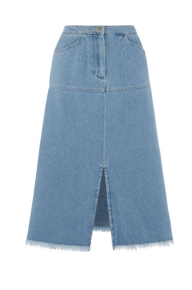 Warehouse, Split Front Raw Edge Skirt Light Wash Denim 0