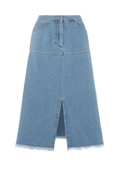 Warehouse, Split Front Raw Edge Skirt Light Wash Denim 0