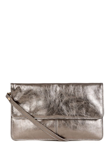 Warehouse, Clean leather Crossbody Bag Pewter 1