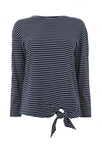Warehouse, STRIPE LONG SLEEVE TIE TOP Blue Stripe 0