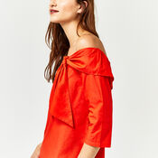 Warehouse, TIE FRONT BARDOT TOP Bright Red 4
