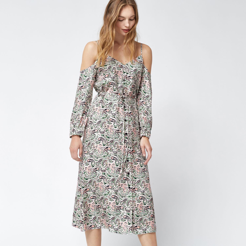 Warehouse, WOODBLOCK PAISLEY SILK DRESS Green Print 1