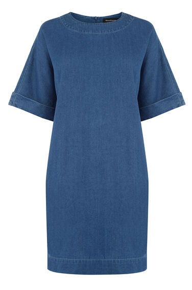 Warehouse, Denim Shift Dress Mid Wash Denim 0