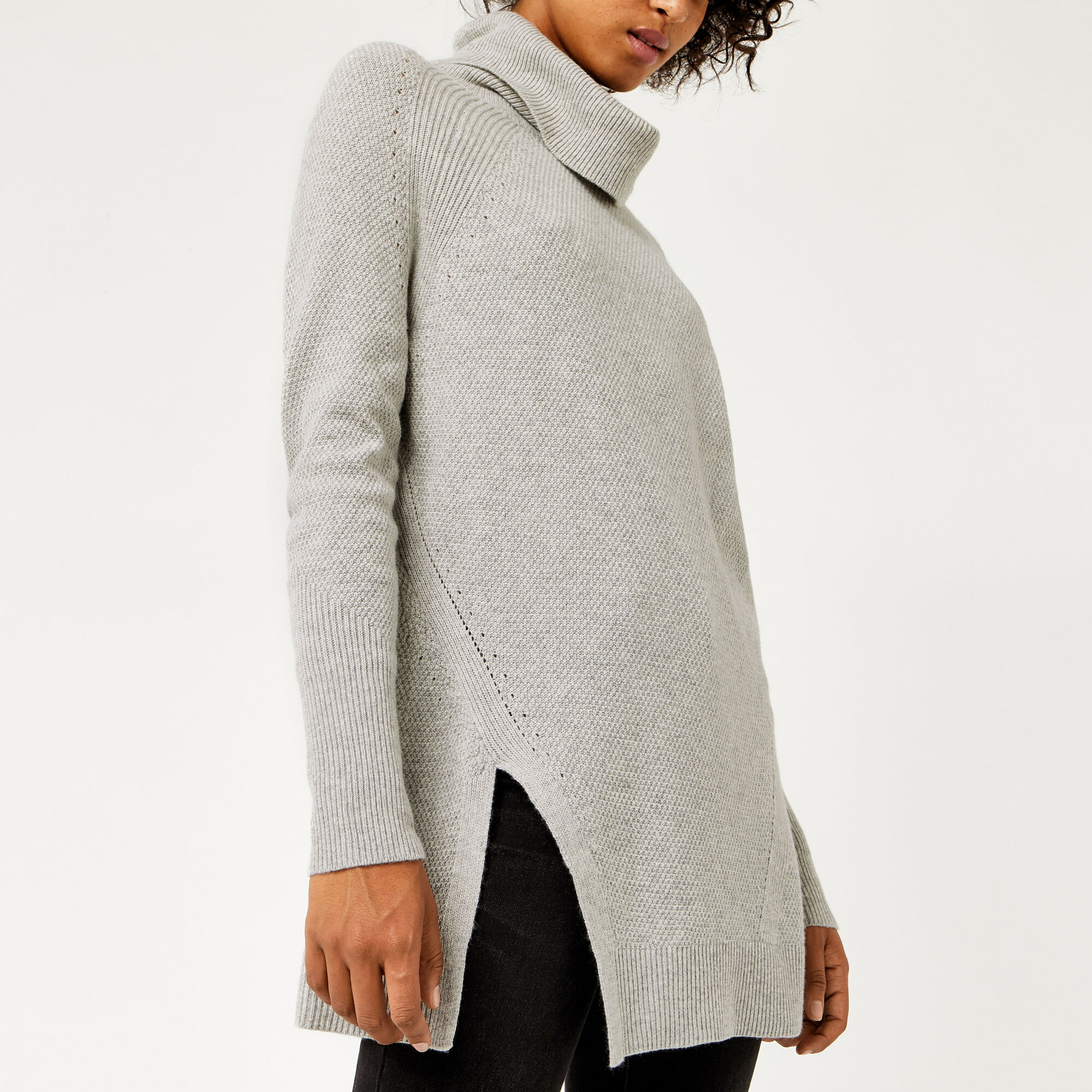 Warehouse, STITCHY COWL NECK JUMPER Light Grey 1