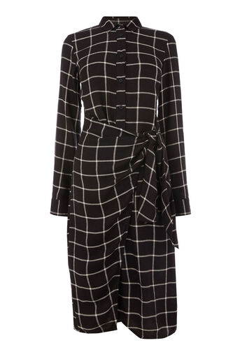 Warehouse, CHECK TIE SIDE DRESS Black Pattern 0