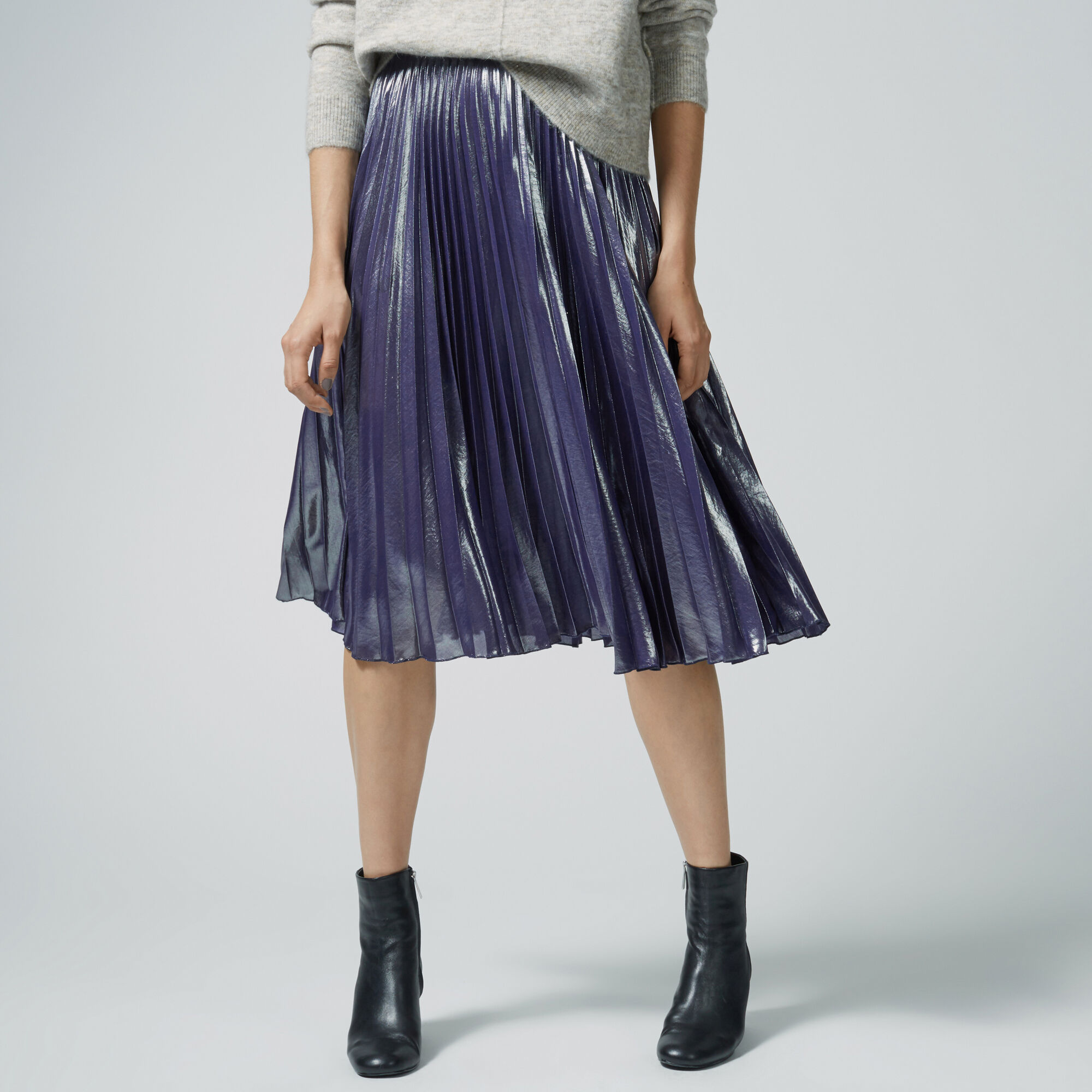 Warehouse, PLEATED FOIL SKIRT Silver Colour 1