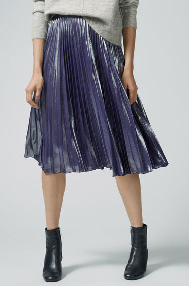 Warehouse, PLEATED LAMÉ SKIRT Silver Colour 1