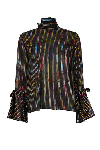 Warehouse, RAINBOW SHIMMER TIE BACK TOP Black Pattern 0