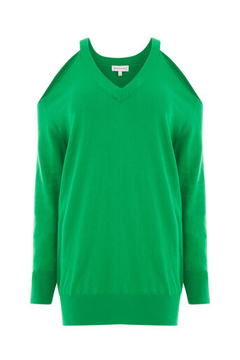 Warehouse, COLD SHOULDER V NECK JUMPER Bright Green 0