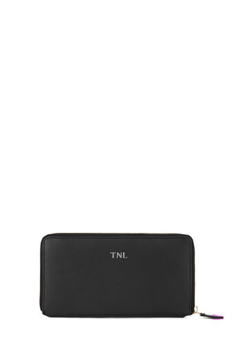Warehouse, MONOGRAM CLEAN LEATHER WALLET Black 0