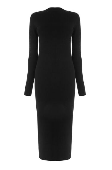 Warehouse, EMBELLISHED SLEEVE DRESS Black 0