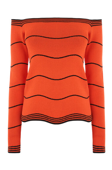 Warehouse, WAVY STRIPE BARDOT TOP Red Stripe 0