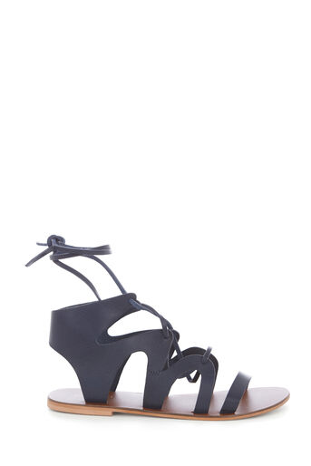Warehouse, LEATHER GLADIATOR SANDAL Navy 0