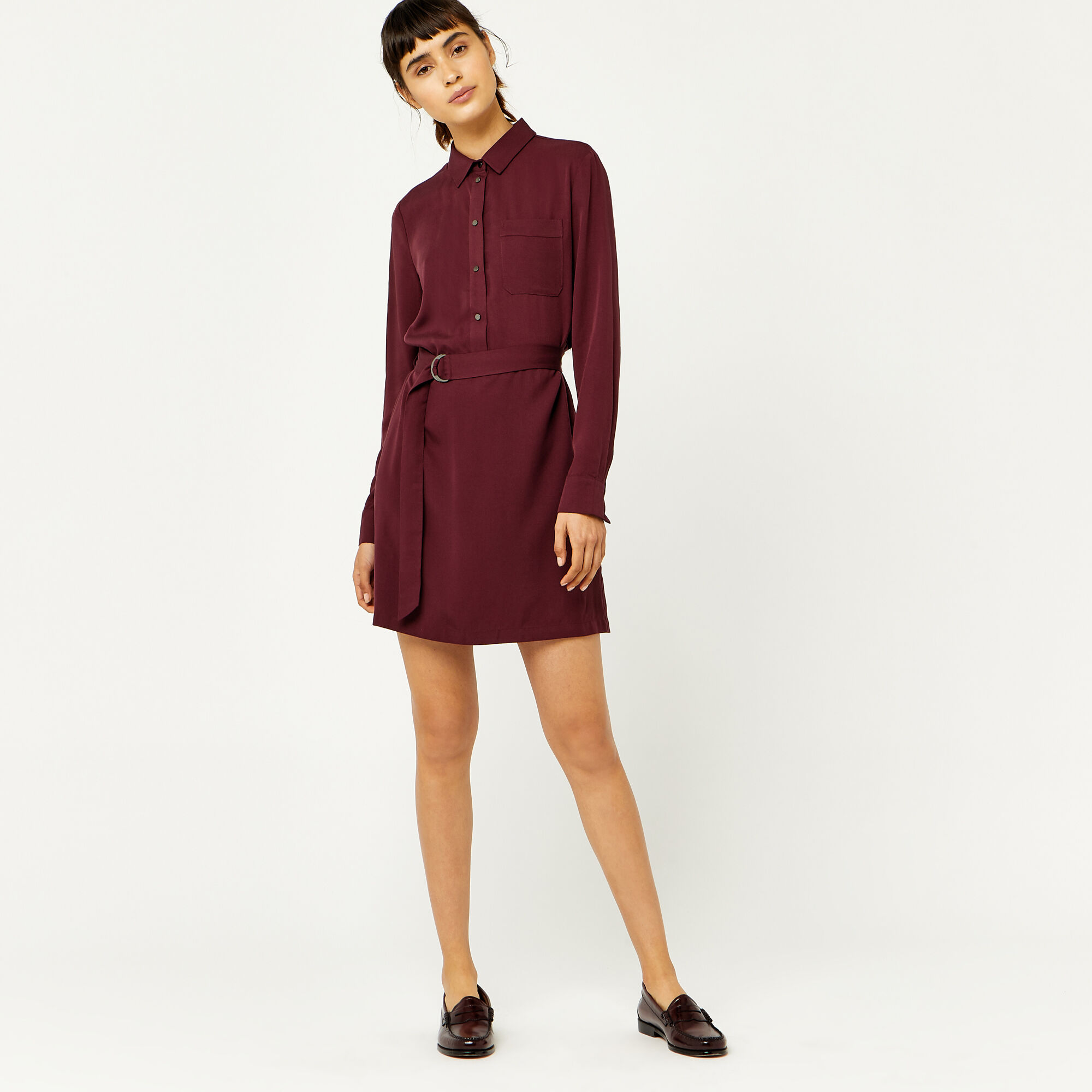 Warehouse, POPPER BELTED SHIRT DRESS Dark Red 1