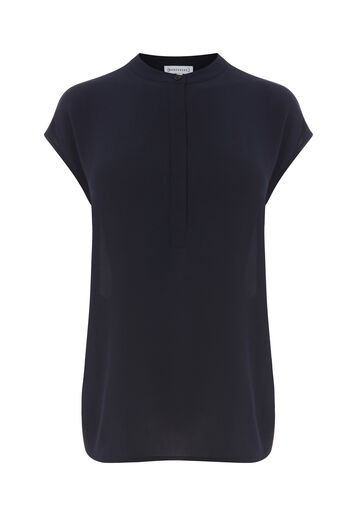 Warehouse, Button Side Blouse Navy 0