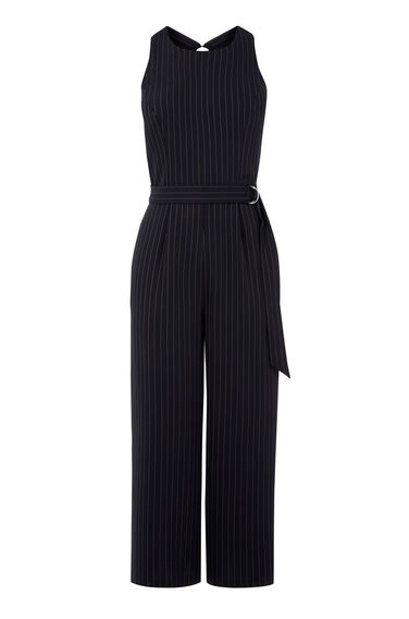 Warehouse, PINSTRIPE BELTED JUMPSUIT Navy 0