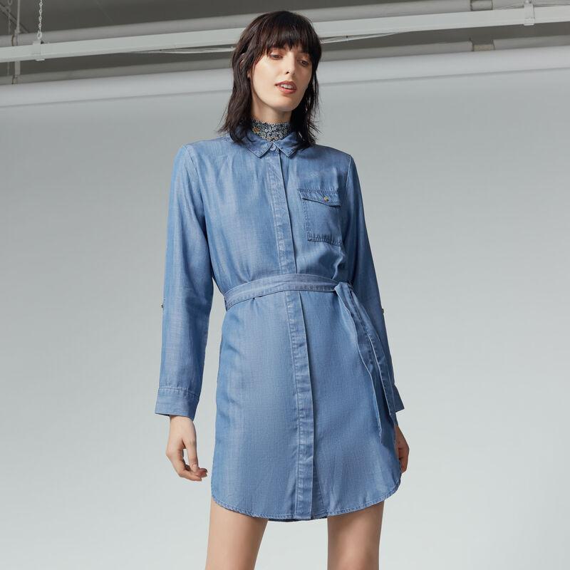 Warehouse, Step Hem Utility Shirt Dress Mid Wash Denim 1