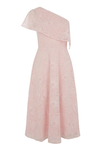Warehouse, FLORAL LACE ONE SHOULDER DRESS Light Pink 0