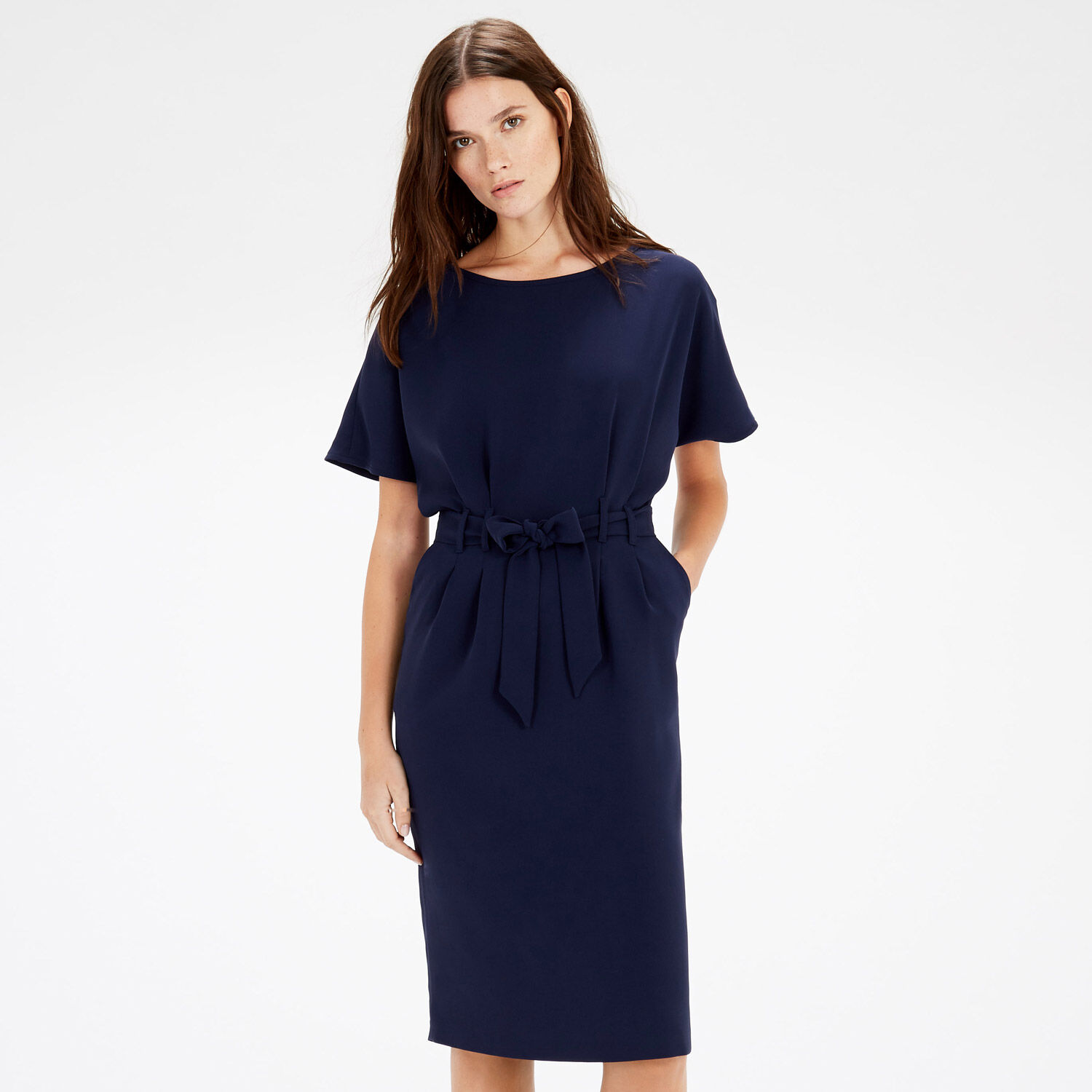 Warehouse, BELTED DRESS Navy 1