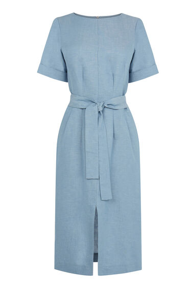 Warehouse, LINEN MIX BELTED DRESS Light Blue 0