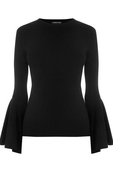 Warehouse, FLUTED CUFF JUMPER Black 0