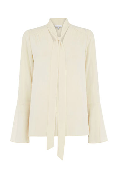 Warehouse, TIE NECK BLOUSE Cream 0