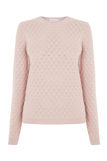 Warehouse, SCALLOP STITCH JUMPER Light Pink 0