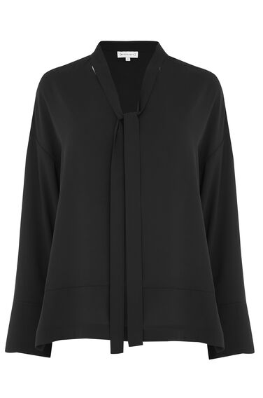 Warehouse, TIE NECK BLOUSE Black 0