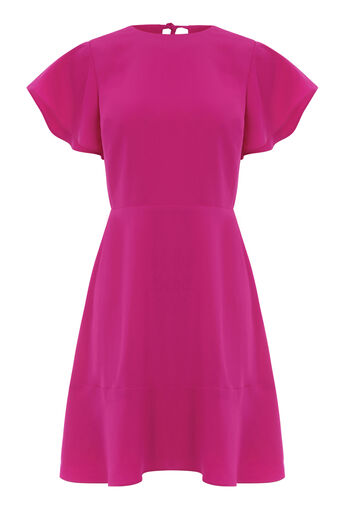 Warehouse, FLARED SLEEVE SKATER DRESS Bright Pink 0