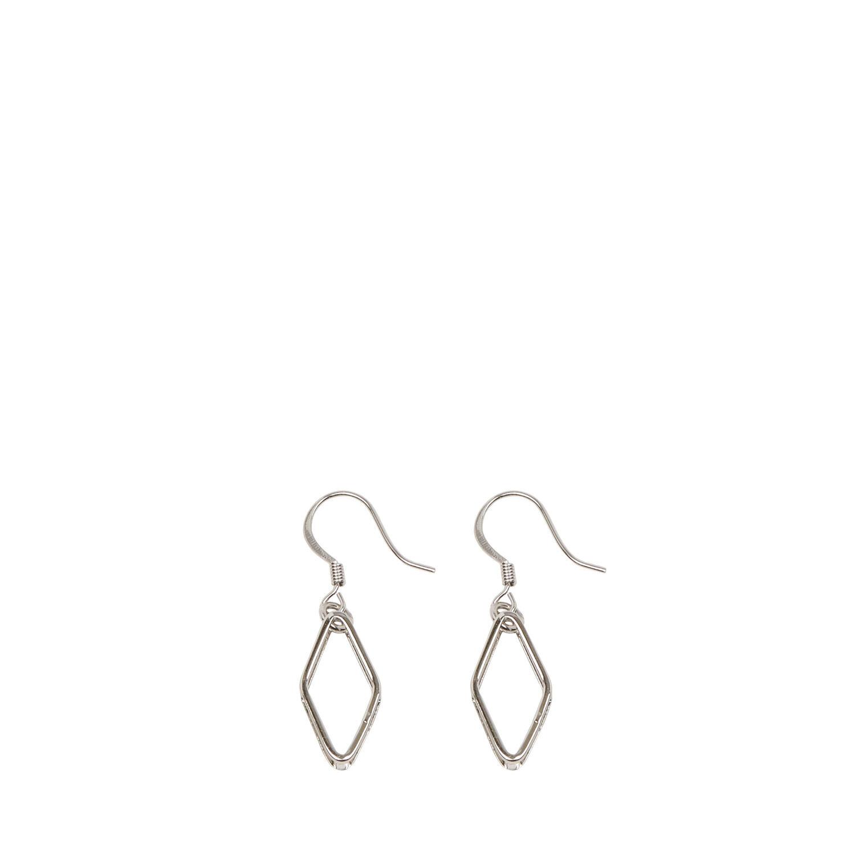 Warehouse, GEO DIAMOND EARRINGS Silver Colour 1