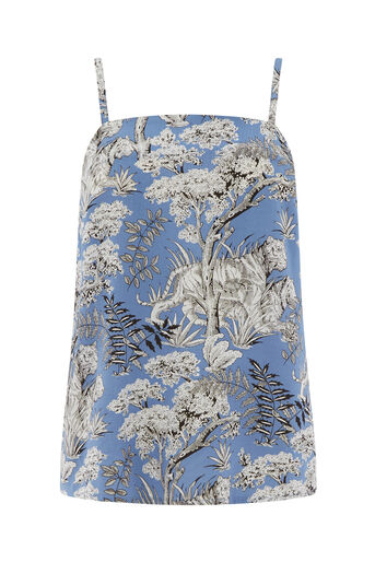 Warehouse, TIGER PRINT CAMI Blue Pattern 0