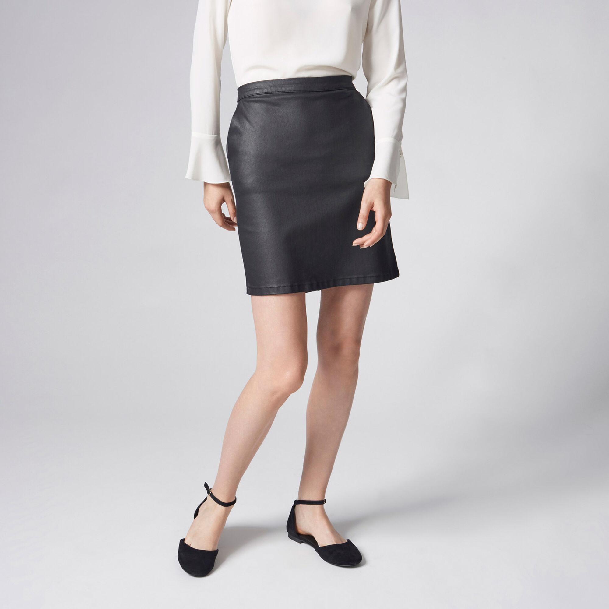 Warehouse, Coated Denim Skirt Black 1