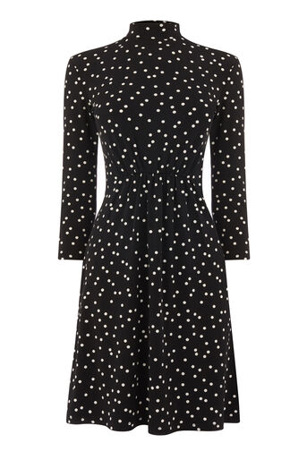 Warehouse, POLKA DOT HIGH NECK DRESS Black 0