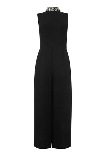 Warehouse, EMBELLISHED NECK JUMPSUIT Black 0