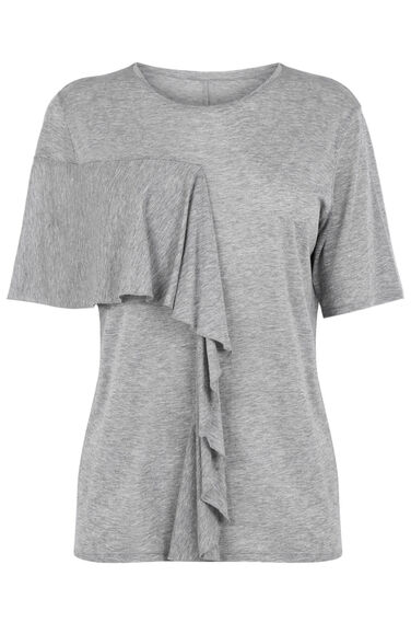 Warehouse, ASYMMETRIC RUFFLE TEE Light Grey 0